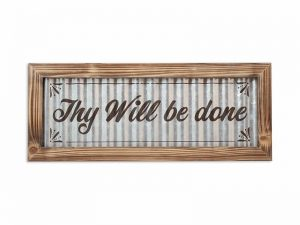 WALL DECOR CORRUGATED TIN THY WILL BE DONE 19X18