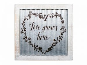 WALL DECOR CORRUGATED TIN LOVE GROWS HERE 14X14