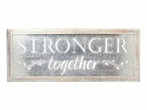 WALL DECOR TIN STRONGER TOGETHER 30X12