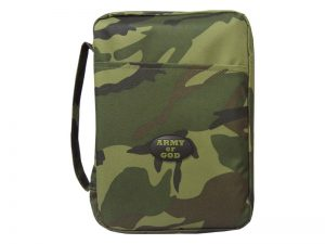 BIBLE COVER CANVAS ARMY OF GOD GREEN CAMO L