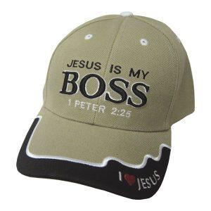 CAP KHAKI JESUS IS MY BOSS