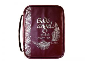 BIBLE COVER IMITATION LEATHER GODS ANGELS WATCHING RED BROWN LG