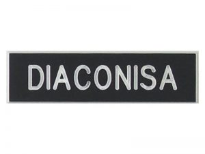 BADGE ENGRAVED SPANISH DIACONISA / DEACONESS BLACK