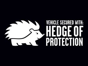 MULTI-PURPOSE DECAL HEDGE OF PROTECTION WHITE 2.5inX8in