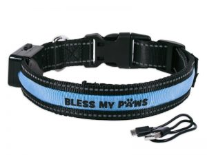 LED DOG COLLAR USB/SOLAR RECHARGEABLE L BLUE