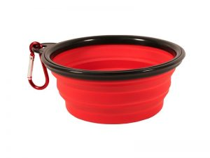 COLLAPSIBLE PET BOWL W/CARABINER RED