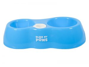 BLESS MY PAWS ALL IN ONE PET BOWL BLUE