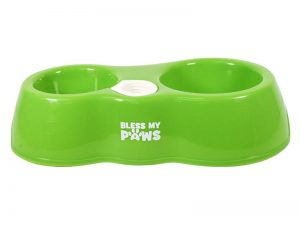 BLESS MY PAWS ALL IN ONE PET BOWL GREEN