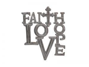 """FTP HAND-HAMMERED DÉCOR """"FAITH HOPE LOVE"""""""