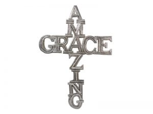 "FTP HAND-HAMMERED DÉCOR CROSS ""AMAZING GRACE"""