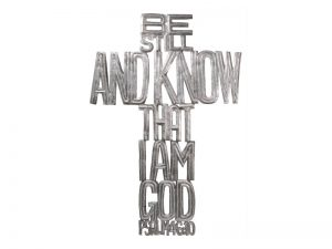"FTP HAND-HAMMERED DÉCOR CROSS ""BE STILL AND KNOW"""
