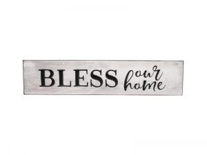 """ENGRAVED WOOD SIGN """"BLESS OUR HOME"""" AUTHENTIC WHITE 3.5X16"""