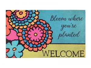 DOOR MAT DIMENSIONAL FLOCK BLOOM