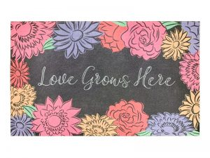 DOOR MAT FLOCK LOVE GROWS HERE