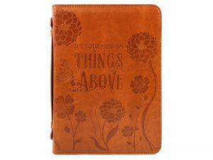 """IMITATION LEATHER BIBLE COVER LIGHT BROWN LARGE """"THINGS ABOVE"""""""