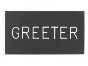 BADGE ENGRAVED GREETER BLACK MAGNET