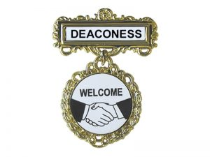 BADGE FANCY ROUND DEACONESS SHAKING HANDS PIN